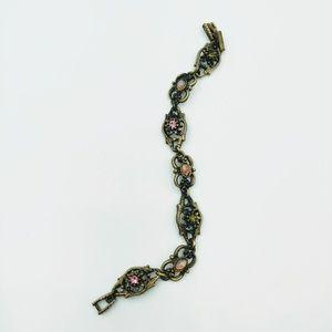 Jewelry - Bronze Tone Crystal Rhinestone Link Bracelet